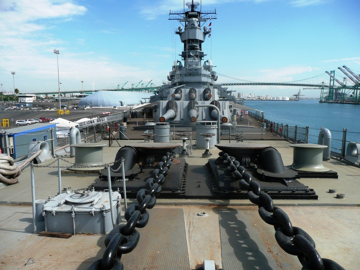 Battleship IOWA Museum Los Angeles anchor chains with the gun turrets in the background