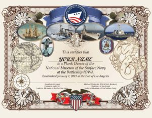 Surface Navy Museum Certificate