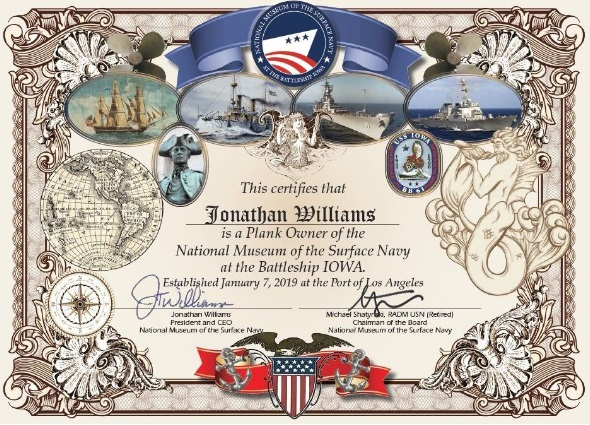 National Museum of the Surface Navy Plank Owner certificate